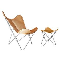 Hardoy Butterfly Chair ORIGINAL Leder honigbraun mit Ottoman | Sessel | Weinbaums