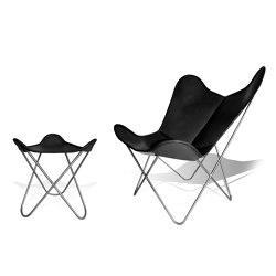 Hardoy Butterfly Chair ORIGINAL leather black with ottoman | Armchairs | Weinbaums