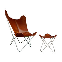 Hardoy Butterfly Chair GRAND COMFORT leather tobacco brown with ottoman | Sillones | Weinbaums