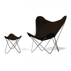 Hardoy Butterfly Chair OUTDOOR Batyline anthracite with otttoman | Armchairs | Weinbaums