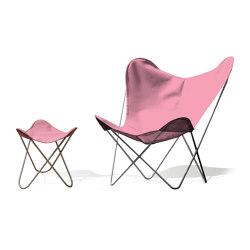 Hardoy Butterfly Chair OUTDOOR Batyline rosé mit Ottoman | Sessel | Weinbaums