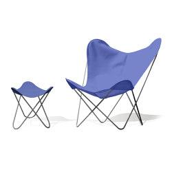 Hardoy Butterfly Chair OUTDOOR Batyline blau mit Ottoman | Sessel | Weinbaums