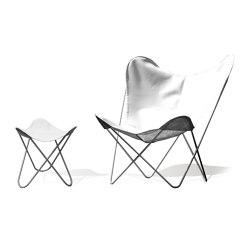 Hardoy Butterfly Chair OUTDOOR Batyline weiss mit Ottoman | Sessel | Weinbaums