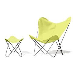Hardoy Butterfly Chair OUTDOOR Batyline gelb mit Ottoman | Sessel | Weinbaums