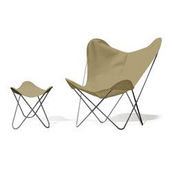 Hardoy Butterfly Chair OUTDOOR Batyline khaki mit Ottoman | Sessel | Weinbaums