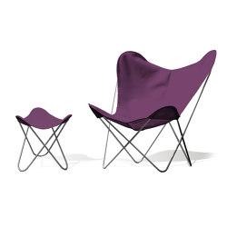 Hardoy Butterfly Chair OUTDOOR Batyline violett mit Ottoman | Sessel | Weinbaums