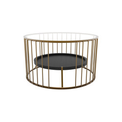 Cage | Round coffee table with linear design and inner shelf | Mesas de centro | Il Bronzetto - Brass Brothers & Co