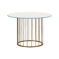 Cage | Round coffee table with transparent glass support | Tables hautes | Il Bronzetto - Brass Brothers & Co