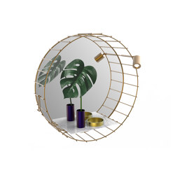 Cage | Round mirror with spot light and marble shelf | Miroirs | Il Bronzetto - Brass Brothers & Co