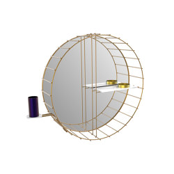 Cage | Round mirror with shelf and tootbrush holder | Bath shelves | Il Bronzetto - Brass Brothers & Co