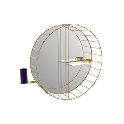 Cage | Specchio a gabbia circolare con mensola laterale e portaspazzolino | Mensole / supporti mensole | Bronzetto