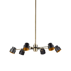 Satellite | Industrial-chic chandelier six lights, small | Suspended lights | Il Bronzetto - Brass Brothers & Co