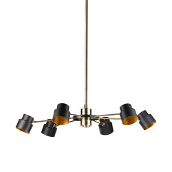 Satellite | Industrial-chic chandelier six lights, medium | Suspended lights | Il Bronzetto - Brass Brothers & Co