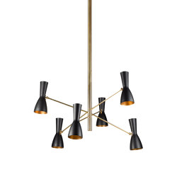 Wormhole | Six lights vintage chandelier | Suspensions | Il Bronzetto - Brass Brothers & Co