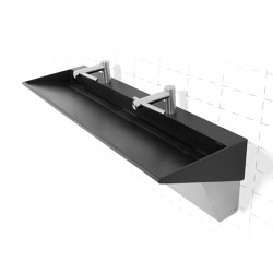 Wedge™ Solid Surface Three-Station Washbasin with Dyson® Airblade™ Wash+Dry Faucet-Hand Dryer in Anise (Black Matte) Color | Rubinetteria lavabi | Neo-Metro