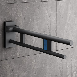 Hinged support rail Duo 700 mm powder-coated | Maniglioni bagno | HEWI