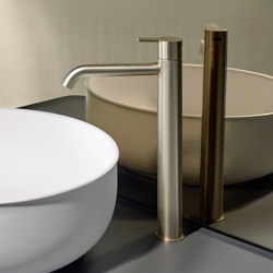 Code Brushed Gold Top Mounted Basin Mixer | Wash basin taps | Inbani