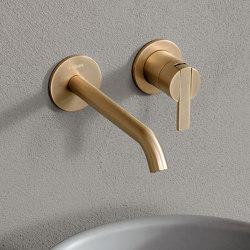 Code Brushed Gold Wall Mounted Basin Mixer   Wash basin taps   Inbani