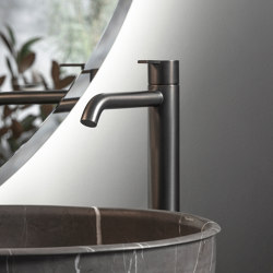 Code Brushed Graphite Top Mounted Basin Mixer | Wash basin taps | Inbani