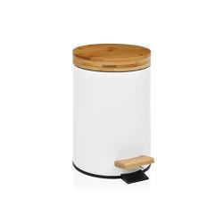 Paper Bins | 3L. White/Bamboo Bin W/S. C. | Bath waste bins | Andrea House