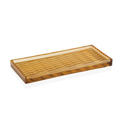 Decoration Complemens | Amber Glass Tray 25X11X2 cm | Trays | Andrea House