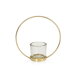 Decoration Complemens | Saturno Glass/Gold Metal Tealight 17X6,5X17 | Candlesticks / Candleholder | Andrea House