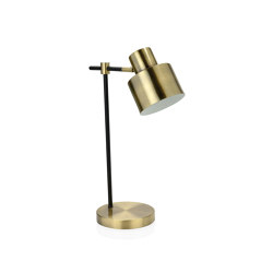 Lighting | Brass/Black Lamp 26X16X45 cm | Table lights | Andrea House