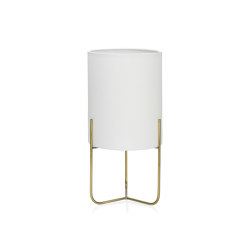Lighting | Gatsby Brass/White Lamp Ø15X30 cm | Table lights | Andrea House