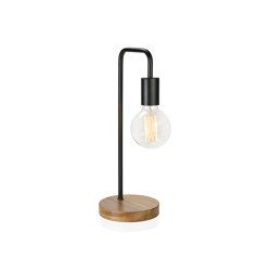 Lighting | Lamp Bend Black/Wood Ø15X41 | Table lights | Andrea House