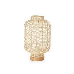 Lighting | Natural Rattan/Wood Lamp Ø22X35cm | Tischleuchten | Andrea House