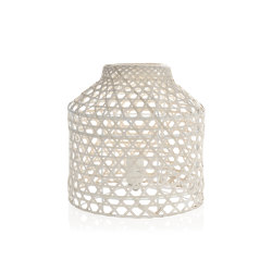 Lighting | White Washed Bamboo Lamp Ø29X30cm | Floor lights | Andrea House