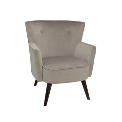 Chairs and Sofas | Beige Velvet Hans Armchair74X75X88cm | Sessel | Andrea House