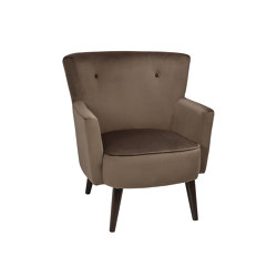 Chairs and Sofas | Brown Velvet Hans Armchair 80X75X88cm | Sessel | Andrea House