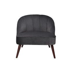 Chairs and Sofas | Grey Vel Shell Armchair 78X72X71cm | Sessel | Andrea House