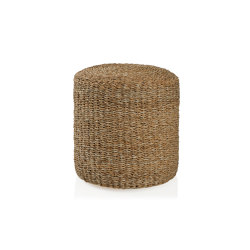 Pufs | Round Cylinder Pouf Seagrass 40X40 | Poufs | Andrea House