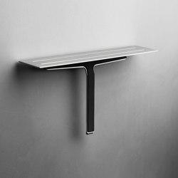 Reframe Collection | Soap shelf and shower wiper - brushed steel | Bath shelves | Unidrain