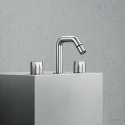 Hb | Stainless steel Set of 2 stop valves with orientable spout for bidet | Bidet taps | Quadrodesign
