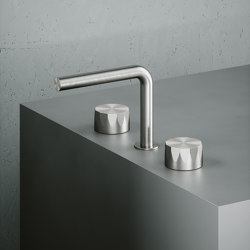 Hb | Stainless steel Set of 2 stop valves with spout | Wash basin taps | Quadrodesign