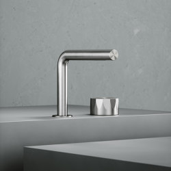 Hb | Stainless steel Two-hole hydroprogressive mixer | Wash basin taps | Quadrodesign