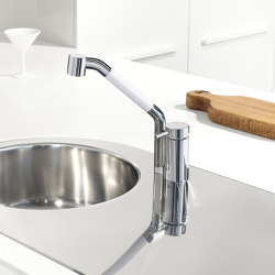 Kitchen Brass | Kitchen sink mixer Ottavo series with swivel spout and extractable shower | Kitchen taps | Quadrodesign
