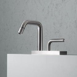 Levo | Stainless steel Deck mounted hydroprogressive mixer bidet | Bidet taps | Quadrodesign