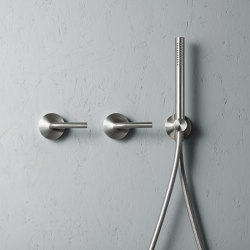 Levo | Stainless steel Wall mounted 2 mixers set with hand shower | Shower controls | Quadrodesign