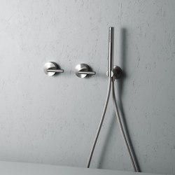 Levo | Stainless steel Wall mounted 2 mixers set with hand shower | Bath taps | Quadro