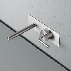 Levo | Stainless steel Wall mounted hydroprogressive mixer with spout | Wash basin taps | Quadrodesign