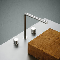 Modo | Stainless steel Set of 2 stop valves with spout | Wash basin taps | Quadrodesign