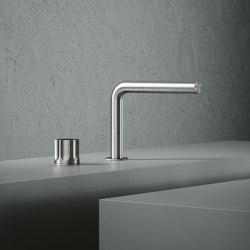 Modo | Stainless steel Two-hole hydroprogressive mixer with spout | Wash basin taps | Quadrodesign