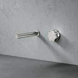Modo | Stainless steel Wall mounted hydroprogressive mixer with spout L. 190 mm | Wash basin taps | Quadrodesign