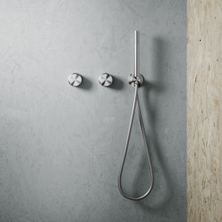Stereo | Stainless steel Wall mounted 2 hydroprogressive mixers set with hand shower | Shower controls | Quadrodesign