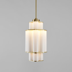 Bauer Chandelier 01 White / Brushed Brass | Suspended lights | Roll & Hill