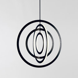 Halo Chandelier - Vertical, 4 Rings (Black) | Suspended lights | Roll & Hill